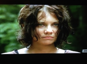 My buddy says Lauren Cohan comes into his coffee shop in Atlanta, and that  she is just as beautiful in real life...even on the run from zombies and grief-stricken, Maggie is gorgeous.
