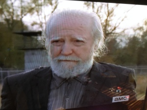 Hershel! So good to see you again!  Scott M. Gimple said this scene was shot after the mid-season finale...Andrew Lincoln said it was emotional to have Scott Wilson back, and be back, at the prison set to film these scenes.