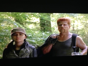 As Abraham and Rosita stop a moment to admire Michonne's handiwork, Abraham murmurs,