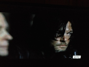 Suddenly, a noise from the woods diverts Daryl's attention...he's so on it, super hot