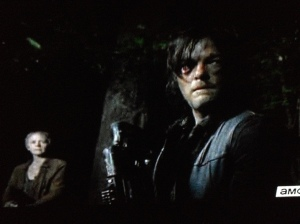 As Daryl listens, the woods settle down to silence once more.