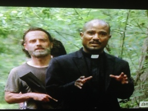 Why Father Gabriel would try a creepy unfunny joke like that on a hot, edgy, weapons-toting gang like our gang, I don't know...