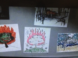 ...and children's drawings of the burning bush...