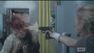 Beth shoots the basement walkers in a series of super gory effects, courtesy of Nicotero & Co.