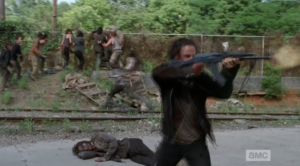 rick hold off walkers fence