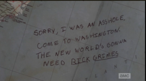 Rick sees the sweet note from Abraham on the map.