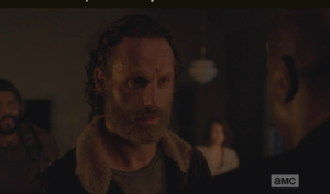 Rick and the gang listen in silent horror to Gabriel's confession..