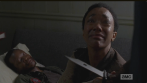 Tyrese comes in the room, takes the knife from Sasha.