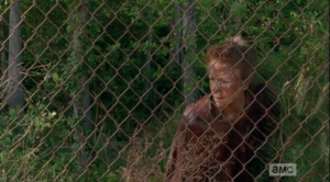walker carol at the fence