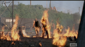 walkers on fire at terminus