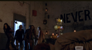And with that, Carol lets the walkers in to go cannibal on Mary.