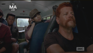 Abraham practically purrs while Rosita plays with his hair, remarking,