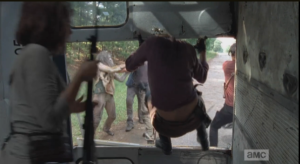 Damn! They just got banged up bad in a bus crash, and now they have to leap out and battle walkers!
