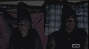 Carol truthfully admits that she still doesn't know...Daryl lies back next to her, and they look up at the top bunk, not touching, not speaking...it's like Pee Wee Herman said,