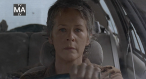 Carol driving, shellshocked