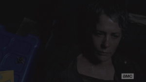 But Carol cannot get right to sleep, and we see her thinking, processing in the darkness.