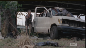 Gingerly, they emerge from the van...Daryl seems ok, but Carol's shoulder is hurt pretty bad, it seems.