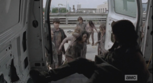 Daryl and Carol get back in the van, the only place to go.