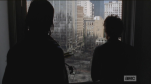 As Daryl and Carol look over the ruined city of Atlanta, Carol remarks that he never asked her what happened after she got up with Tyrese and the girls...Daryl replies that he knows what happened, as the girls aren't here any longer...