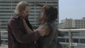 Daryl battles the bridge walkers, but there are too many and they are closing in...