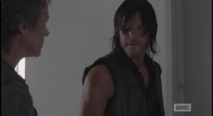 This is Daryl's breaking point, and he whirls on Carol, tells her,