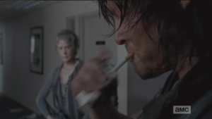Daryl pulls a 'grette out of the pack with his mouth...dude, I love a bad boy who has the art of smoking down to a sexy, natural science...a real panty dropper.