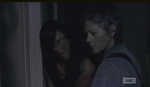 Carol automatically goes to the door, so used to having to be the one to take care of things like this, these days...Daryl stops her, tells her she doesn't have to do this...