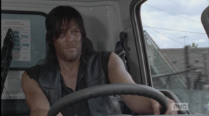 So, Season 5, Episode 6 ends as it begins, with Daryl driving, determined...but much has happened since that first scene, bringing much change,  as the fires of transformation once again burned what was away, consuming it, and leaving something new in its place.