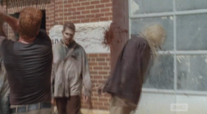 ...a tire rolls out of the open fire station doorway, followed by a stream of walkers.  The gang must get to rekilling...