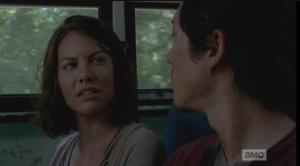 Maggie turns to Glenn, says,