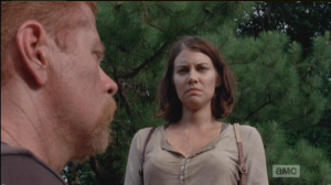 Maggie then walks over to Abraham, tells him to get over himself.