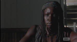 michonne listens to carl counsel gabriel