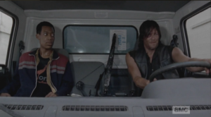 Daryl and Noah drive away, heading back to get the others. Noah looks at Daryl, who is lost in his thoughts, his anguish.  You know he is really hurting .