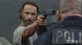 A click of a gun, and Officer Baldy looks up to see Rick Smash! holding a gun to his head...cue the Rick Smash! Bear McCreary theme music, dark and pulsing...Rick Smash! wants to SMASH!