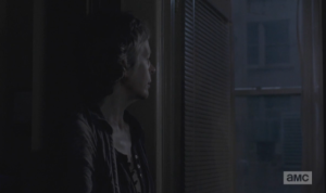 Without taking her eyes off the window, Carol asks Daryl,