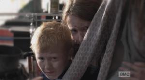 Abraham's children cower behind their mom, afraid of him.