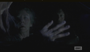 As they watch, and wait, Carol and Daryl are surprised by an unexpected, and unwelcome, visitor...