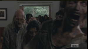 There are too many to fight off, and Gabriel calls to them to get to the rectory, his room in the back of the church.