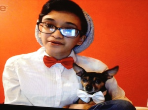 Then we met the bespectacled girl with the quirky style who dolled herself and her little dog in fancy bow ties.