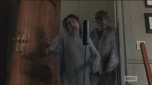 And as Gabriel dives for the crawlspace hole in the floor, Machete Walker falls through the door, towards Gabriel...