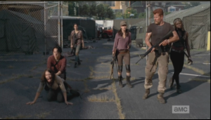 Upon seeing Beth, Maggie screams, collapses on the ground.