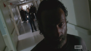 At Dawn's words, Rick stops in his tracks. He turns to Dawn, walks back towards her,