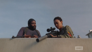 At their sniper station, Tyrese is telling Sasha to stop beating herself up for not rekilling Bob.