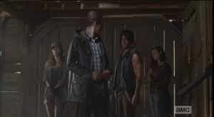 Aaron looks back at Daryl, nervously agrees that,