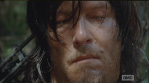The searing pain seems to bring Daryl a much-needed release...