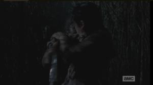 Glenn narrowly avoids getting bitten.