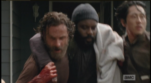 On a light note, Chad  Coleman said on Talking Dead that Andrew Lincoln and Steven Yeun dropped him at least a couple of times filming this scene.