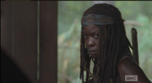 Michonne has got her game face on, looking like a total badass.
