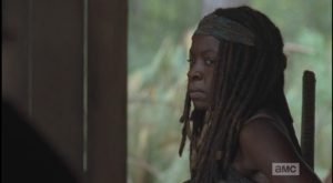 Michonne's reaction to Rick's baiting comment is awesome...she narrows her eyes, says nothing, turns and walks out the door.
