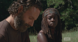 Meanwhile, sitting on the hood of the back car, Michonne looks over at Rick, tells him the fight's over...it's time to let it go. Michonne, Michonne, Michonne, the fight is never over, or there wouldn't be a show...but maybe everyone can get some rest, and some food, and a chance to party naked for a while.